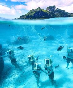 How would you like to walk under the Bora Bora water? You can do so at Aqua Safari Helmet Diving