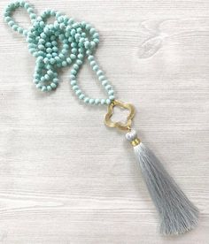 Knotted Tassel Necklace, Long Tassel Necklace, Gift For Her, Beaded Tassel Necklace, Boho Chic Statement Necklace, by FlowersInMyHairShop on Etsy https://www.etsy.com/listing/492548061/knotted-tassel-necklace-long-tassel