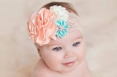 mint and coral headband baby girl headband lace by lePetitePosh