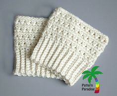 free crochet pattern for boot cuffs - x stitch challenge...with link to fingerless mitts.