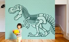 New giant wallpaper mural Dinosaur for kids room by E-Glue design studio - http://www.e-glue.fr/en/73-kids-room-decor-wall-decor-murals