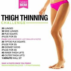 Thigh Thinning Challenge (Skinny Mom) - Cristine P. Cheer Workouts, At Home Workouts, Cheerleading Workouts, Thin Legs Workout, Toning Legs, Toned Legs Workout, Inner Thigh Lifts, Plie Squats, Fitness Motivation