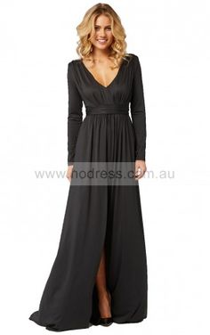 Long Sleeves Zipper V-neck Floor-length Chiffon Formal Dresses csea7008