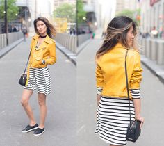 Stripe and Yellow, Stripe and Yellow! I have an obsession with biker jackets LOL This faux leather jacket from Zara is just too cute!!!  Follow me on #Instagram : ohn_mintyfresh !  Shop the Look:  Stripe Dress  Faux Leather Jacket