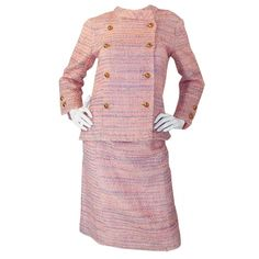Circa 1966 Chanel Haute Couture Suit | From a collection of rare vintage suits, outfits and ensembles at http://www.1stdibs.com/fashion/clothing/suits-outfits-ensembles/