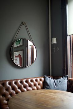 brown leather + gray walls = love | desire to inspire - desiretoinspire.net - Andrea Chu