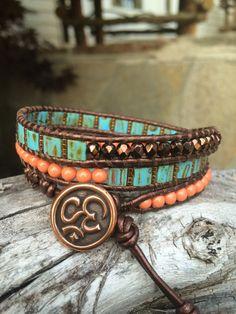 Beaded Leather Wrap Bracelet. Tila by SilveryBeachDesigns on Etsy