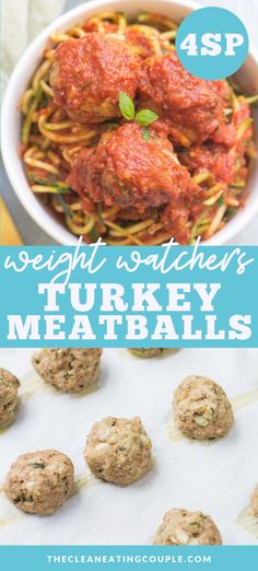 Healthy Turkey Meatballs are a nutritious twist on a classic Italian dish. friendly, paleo, gluten free, dairy free and so delicious! Weight Watchers Chicken, Weight Watchers Meals, Weight Watchers Meatball Recipe, Meatball Recipes, Healthy Turkey Recipes, Lunch Recipes, Whole30 Recipes, Ww Recipes, Healthy Meal Prep