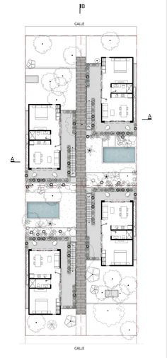 hotel floor plan Studio Arquitectos creates holiday home-like apartments for Tulums permanent residents Apartment Layout, Apartment Plans, Studio Apartment Floor Plans, Hotel Floor Plan, House Floor Plans, Tulum, Co Housing, Courtyard Design, Apartment Complexes