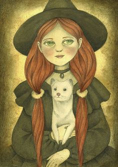 Witch Illustration Art Print Vintage Inspired by TheWishForest