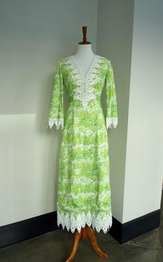 e0fe499b61 Vintage 1960s Lilly Pulitzer Long Sleeve Maxi Dress in Bright White Linen  Shirt