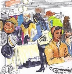 Urban sketchers show the world, one drawing at a time. New Africa, Urban Sketchers, Art Sketchbook, Designs To Draw, Art Drawings, Sketches, African, Farmers, Happiness