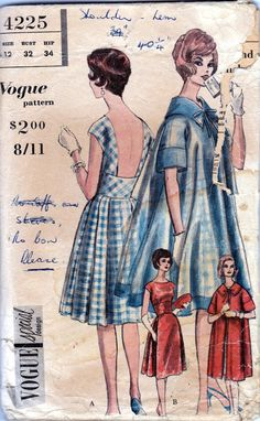 60s Vintage Vogue Special Design Sewing Pattern Plunge Back Dress with Midriff Panel & Swing Coat Bust 32. , via Etsy.