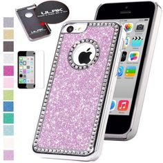 Pandamimi ULAK(TM) Luxury Bling Glitter Crystal Rhinestone Chrome Plastic Hard Case Cover for Apple iPhone 5C with Screen Protector (Purple) by ULAK, http://www.amazon.com/dp/B00F6N0GKU/ref=cm_sw_r_pi_dp_gw7psb14B8SS3