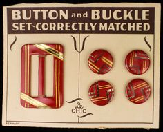 """ButtonArtMuseum.com - ART Deco Celluloid Matched Button Buckle SET Original Store Card RED Gold -  Nice vintage celluloid over metal tight-top buttons and buckle. - Circa 1920's - Four buttons 11/16"""" across and one buckle 1&13/16 x 1&3/16"""""""
