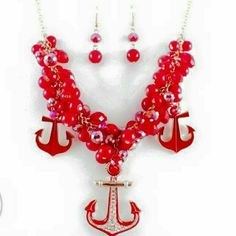 Chunky Necklace Name:Anchor Material: Alloy chain closure, red crystal beads Jewelry Necklaces