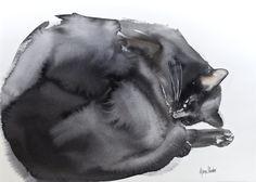Sleeping cat original watercolor painting by bodorka on Etsy