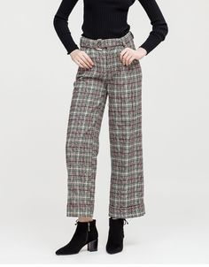 79b618c00837 Spring New Metal Ring Belt Classic Plaid Woolen Trousers Wide Leg Women  Casual Loose Pants   Item is FREE Shipping Worldwide!
