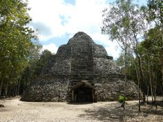 The archaeological site at Cobá contains many Mayan ruins, including the 42 metre-high Nohuch Mul pyramid. Mayan Ruins, Gulf Of Mexico, Archaeological Site, Central America, Caribbean, Travel Destinations, Tropical, Tours, Cabin