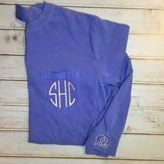 Comfort Colors Monogram Long Sleeve Pocket Tee With Elephant Cuff... ($36) ❤ liked on Polyvore featuring tops, t-shirts, teal, women's clothing, polka dot shirt, long sleeve shirts, monogram t shirts, t shirts and preppy t shirts