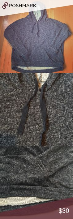 Lucky Brand pullover marked French terry hoodie Great everyday athleisure look!  Dark navy blue marled French terry fabric gives warmth and texture to this piece.  Front kangaroo pocket and twill tape drawcords add to the casual, yet pulled together vibe.  Pair it with your favorite jeans or joggers for a pulled together look. Lucky Brand Tops Sweatshirts & Hoodies