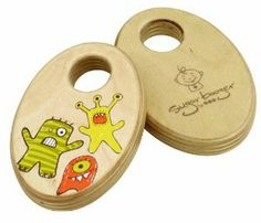 Monsters wooden baby rattle shakers toy