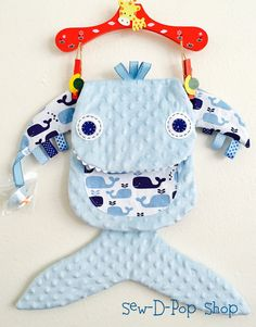 Baby Whale Binkie Lovey Tag Security Blanket Buddy - pinned by pin4etsy.com
