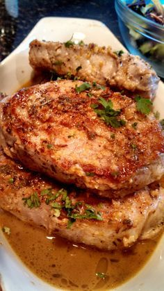 Sauteed Pork Chops with Lemon Garlic Sauce. These took a lot longer to cook (I used 1-1/4 inch thick chops) so I finished them in a 375 oven before I made the sauce. This was a good, basic recipe. Quick for a weeknight with really good flavor.