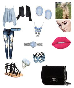 """""""feeling blue"""" by chinapowell ❤ liked on Polyvore featuring Mystique, Sans Souci, Yves Saint Laurent, Tomas Maier, Chanel, Kenneth Cole, Skagen, Cara and Lime Crime"""