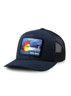 Fly Fishing Hat Colorado Trucker Snapback Navy by Dead Drift Fly Fly Fishing Hats, Trout Fishing, Bag Clips, Comfort Colors, Caps For Women, Mens Caps, Caps Hats, Colorado, Great Gifts