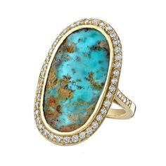 ANITA KO  Mexican Turqoise Oval ring  Mexican Turquoise oval ring in 18 karat gold with .72 kts of diamonds.