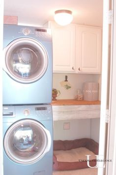 We stacked the washer and dryer, added wainscoting, rearranged the overhead cabinets and made a small table.