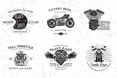 Vintage Motorcycle Logos by Vintage Design Co. on Creative Market
