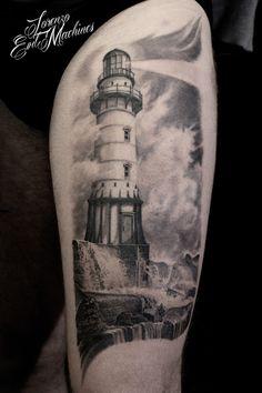 Lorenzo Evil Machines   Inked Magazine Tatuaggi Realistici Faro realistico - realistic tattoo lighthouse