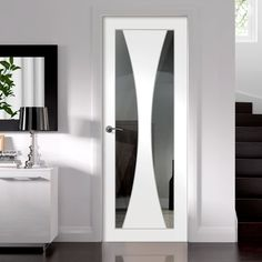 Verona White Primed Door with Clear Safety Glass - Lifestyle Image Safe Glass, Clear Glass, Architrave Door, Pocket Door Frame, Door Design, House Design, Primed Doors, Frosted Glass Door, Door Fittings