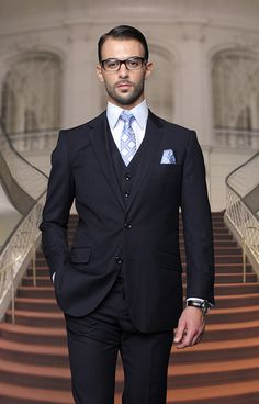 SuitYourselfMenswear.com Solid Navy Blue Mens Big and Tall 56R-72L Super 150's Extra Fine 3 Piece Classic Fit Suit