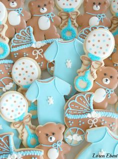 The Baking Sheet: Baby Shower Cookies Teddy Bear Cookies, Teddy Bear Party, Teddy Bear Baby Shower, Baby Cookies, Baby Shower Cookies, Baby Boy Shower, Sugar Cookies, Birthday Cookies, Teddy Bears