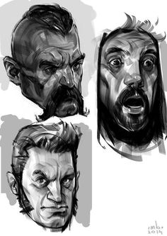 Face expression and stylization experiments. Character Sketches, Character Design References, Character Drawing, Drawing Sketches, My Drawings, Value Drawing, Sketch Inspiration, Amazing Drawings, Male Face