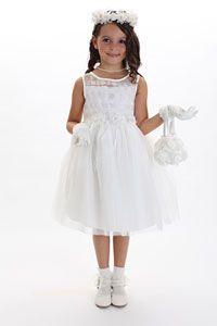 Flower Girl Dresses -  Flower Girl Dress Style 176 - Candelight White Embroidered Tulle Dress