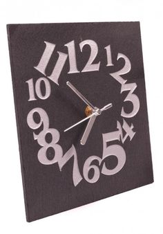 Slate clock with silver numbers side