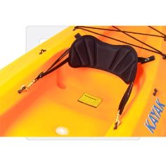 Small Back Band - Backrest for Sit-Inside or Sit-on-top Kayaks : The Small Back Band from Seattle Sports is just what the name tells you: a small, budget-priced back band designed to provide your basic lower back support as a backrest. Will fit in most sit-inside or sit-on-top kayaks. Black nylon covering is stretched over 3/4 inches of foam and sewn on top of a solid PVC plastic backing for sturdy back support.  Brass clips on the adjustable forward straps come standard.