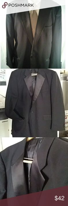FREE necktie👔BLACK tuxedo jacket(tie of choice)🎹 Jacket and pick a tie from closet;)) Solid black with a black satin lapel. Dad wore it twice. Excellent conditiin. Well made and elegant design. Length measures 24in from underneath armpit to bottom. 25 in across flat pit to pit Fenzia Suits & Blazers Sport Coats & Blazers
