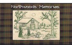 Northwoods Memories Pumpkin Patch - Redwork Hand Embroidery Pattern by Beth Ritter - Instant Digital Download