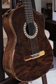 Brazilian Rosewood back and sides, Burled Brazilian Rosewood top Concert Classical Guitar. January 22, 2013.