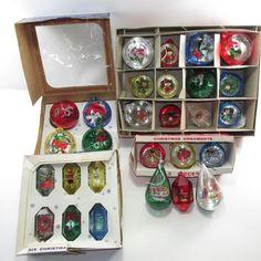 28 Jewelbrite Diaroma 3D Christmas Holiday Ornaments Plastic Vintage Free Ship