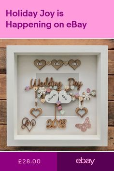 Photo & Picture Frames Home Furniture & DIY - NikNaks - Bilderrahmen 3d Box Frames, Box Frame Art, Diy Frame, Homemade Wedding Presents, Handmade Wedding Gifts, Scrabble Crafts, Scrabble Frame, Box Frame Ideas Diy Crafts, Baby Box Frame Ideas