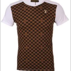Louis Vuitton Mens Check T-Shirt Louis Vuitton Shirt in Brown Checkered on a white shirt. A cool change to your regular white tee. Louis Vuitton Tops Tees - Short Sleeve