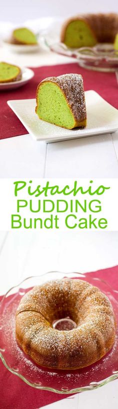 Easy Pistachio Bundt Cake using pistachio pudding and box cake mix!