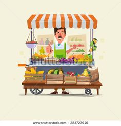 vegetables and fruits cart with seller character design. market cart. Green Carts sell only fresh fruits and vegetables. promote healthy eating concept - vector illustration - stock vector