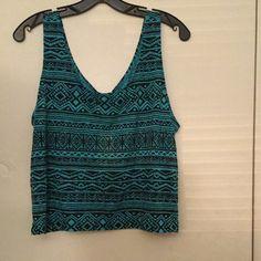 Aqua & black tribal top Forever 21 size large Sleeveless knit top. Aqua and black size large Forever 21 Tops Tank Tops